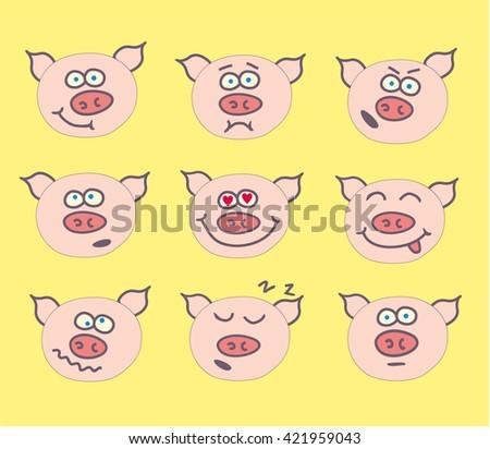 pig cute emoticon set - stock vector