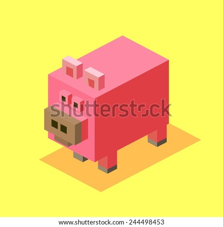 pig. 3d pixelate isometric vector - stock vector