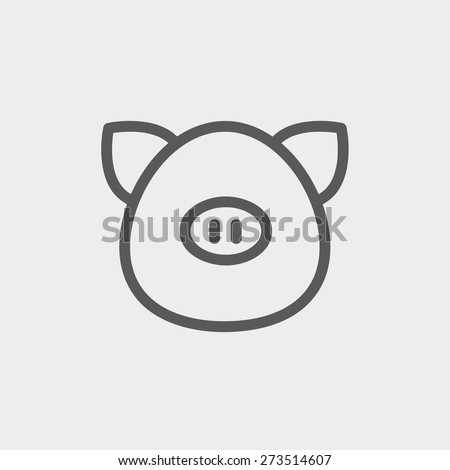 Pig face icon thin line for web and mobile, modern minimalistic flat design. Vector dark grey icon on light grey background. - stock vector