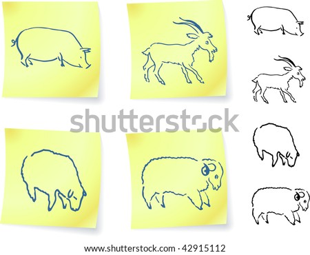 pig, goat, ram and sheep  on post it notes original vector illustration 6 color versions included - stock vector