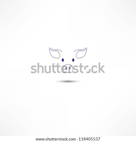 Pig Icon - stock vector