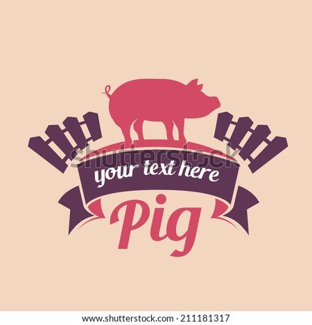 pig meat label  - stock vector