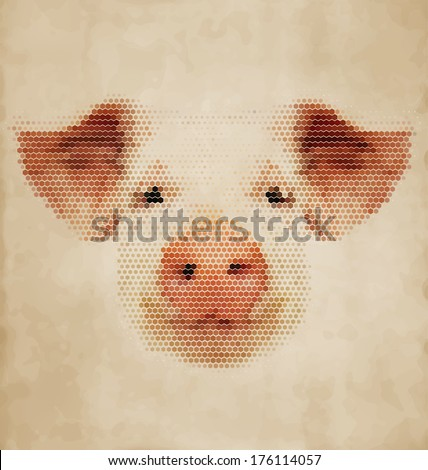Pig portrait made of geometrical shapes - Vintage Design - stock vector