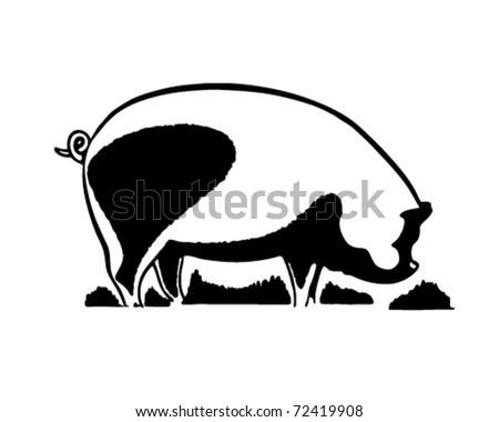 Pig - Retro Ad Art Illustration - stock vector