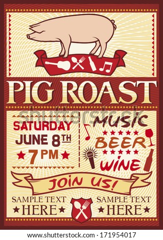 pig roast poster (barbecue party design, bbq barbecue poster) - stock vector