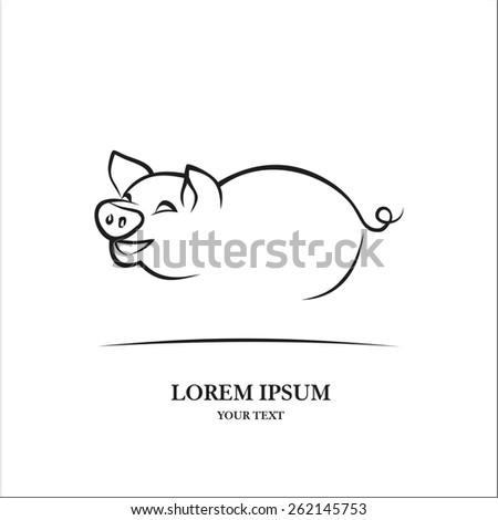 Pig sketch  - stock vector