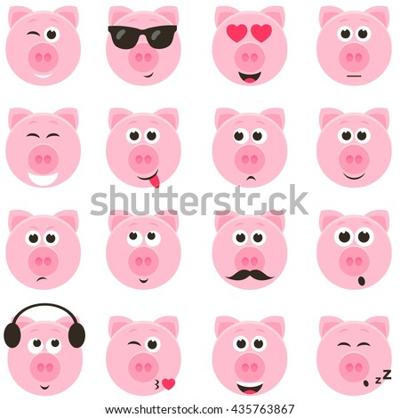 pig smiley faces set - stock vector