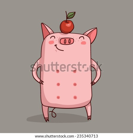 Pig with an apple on his head. - stock vector