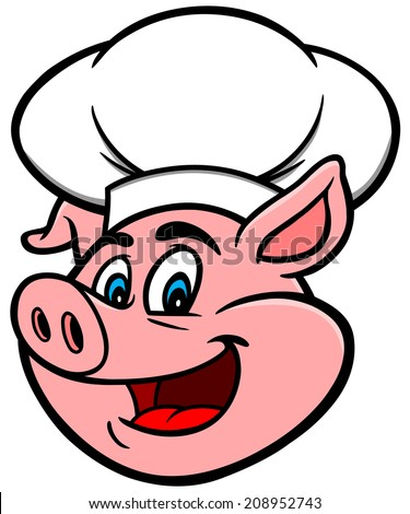 Pig with Chef Hat - stock vector