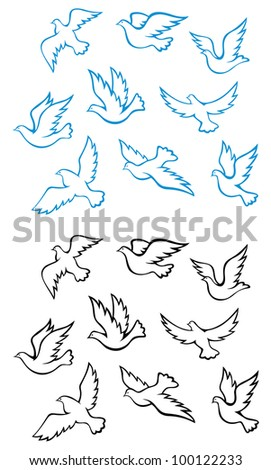 Pigeons and doves birds symbols for peace or wedding concept design, such  a logo. Jpeg version also available in gallery - stock vector