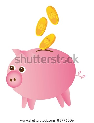 piggy and gold coins isolated over white background. vector - stock vector