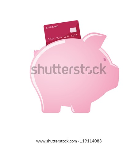 Piggy bank accepting credit cards - stock vector
