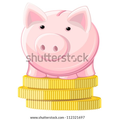 Piggy bank and coins - stock vector
