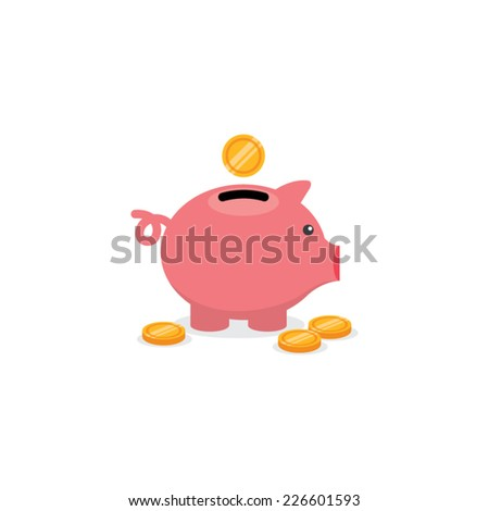 Piggy Bank and Coins Vector Illustration - stock vector