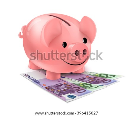 Piggy bank and fan of euro banknotes. Piggybank standing on heap of one hundred and five hundred euro bills isolated on white background. - stock vector