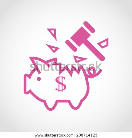 Piggy bank and hammer Icon Isolated on White Background - stock vector