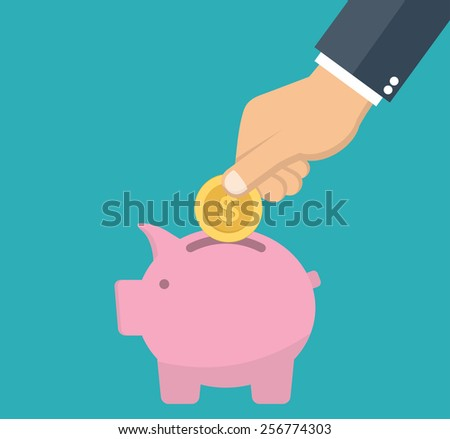 Piggy bank and hand holding gold coin - savings concept in flat style - stock vector