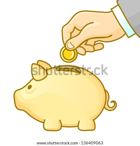 Piggy bank and hand with coin. Vector illustration. - stock vector