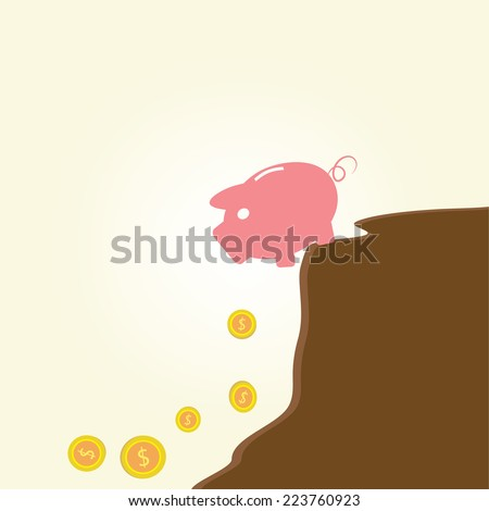 Piggy bank at edge of fiscal cliff.Vintage cartoon business vector design. - stock vector