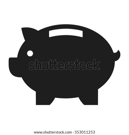 Piggy bank. Business icon flat. blue and black - stock vector