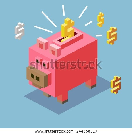 piggy bank. 3d pixelate isometric vector - stock vector