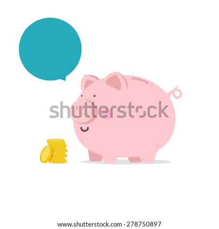 Piggy bank - flat icon with blank bubble text vector illustration eps10 - stock vector