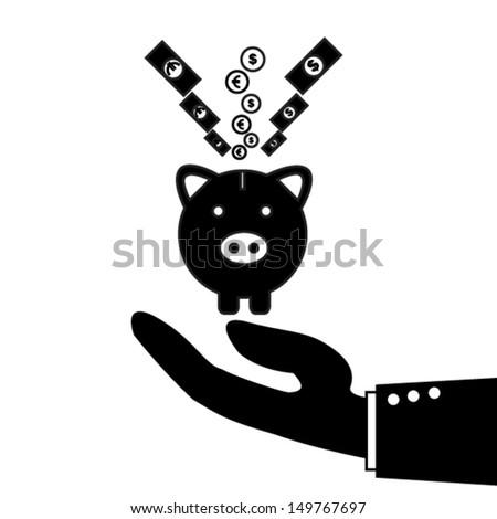 piggy bank icon - stock vector