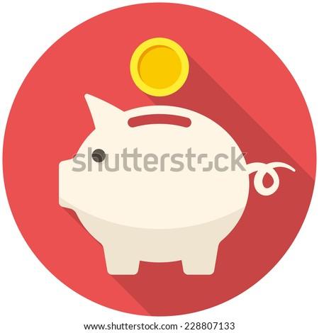Piggy bank icon (flat design with long shadows) - stock vector