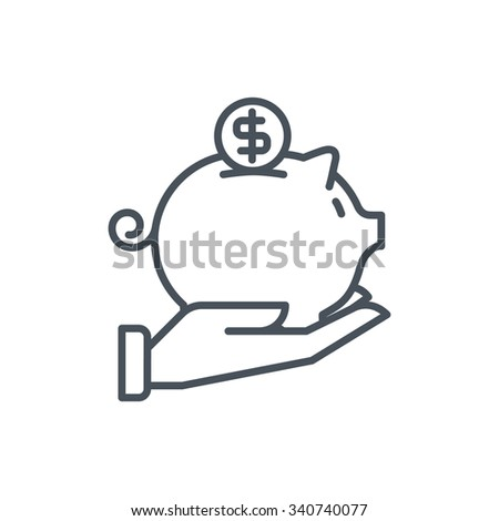 Piggy bank icon suitable for info graphics, websites and print media and  interfaces. Line vector icon. - stock vector