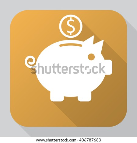 Piggy bank icon vector, solid illustration, pictogram isolated on gray. long shadow - stock vector