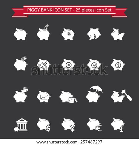 Piggy bank icons, banking and saving icon set - stock vector
