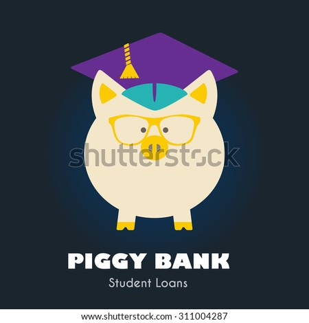 Piggy Bank in Graduate Hat & Glasses vector sign. Student loan, financial aid, money saving plan for high education concept. Educational icon, business sign template. Sample text. Layered, editable - stock vector