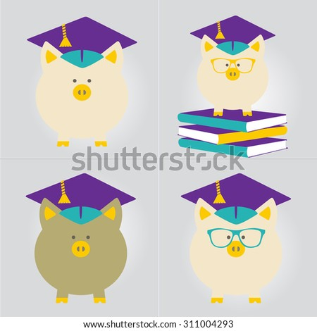 Piggy Bank in Graduate Hat vector sign in flat style. Educational icon, business sign template set. Student loan, financial aid, money saving plan for high education concept. Layered, editable - stock vector