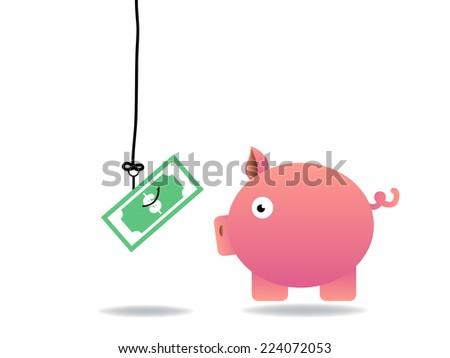 piggy bank is victim - stock vector