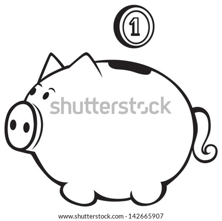 Piggy bank isolated on white - stock vector