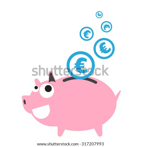 Piggy bank money happy, currency Euro symbol coin falling for saving concept in vector - stock vector