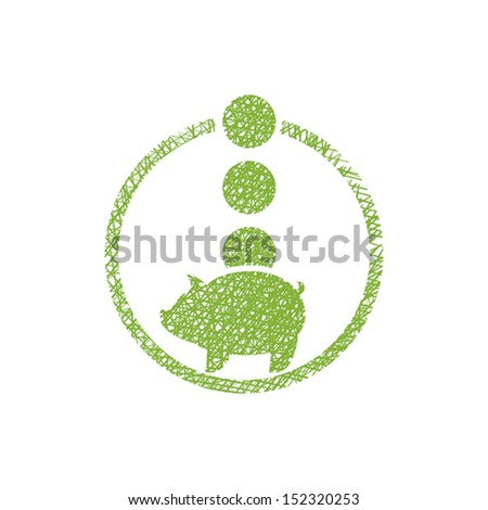 Piggy bank money, vector icon with hand drawn lines texture. - stock vector