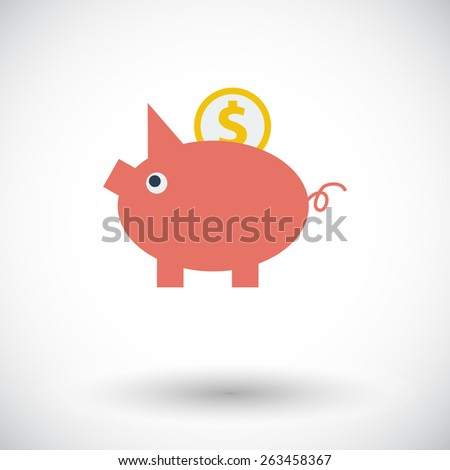 Piggy bank. Single flat icon on white background. Vector illustration. - stock vector