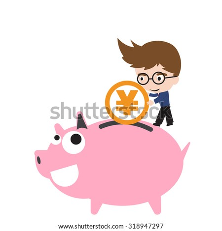 Piggy bank smile and happy, businessman putting money coin, currency Yen symbol for saving financial concept isolated on white background - stock vector