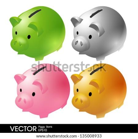 Piggy bank vector - stock vector