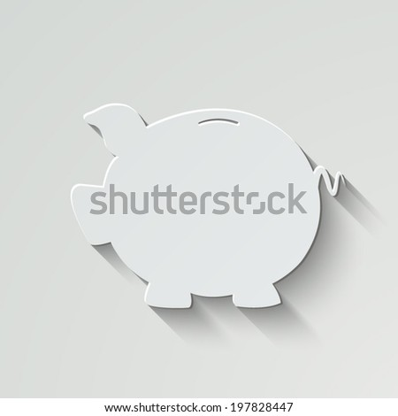 Piggy bank vector icon - paper illustration with shadow on light background - stock vector