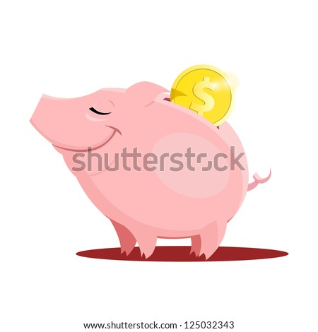 Piggy bank with a coin - stock vector