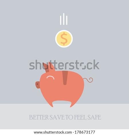 Piggy bank with coins money. Cute cartoon style.Vector illustration - stock vector