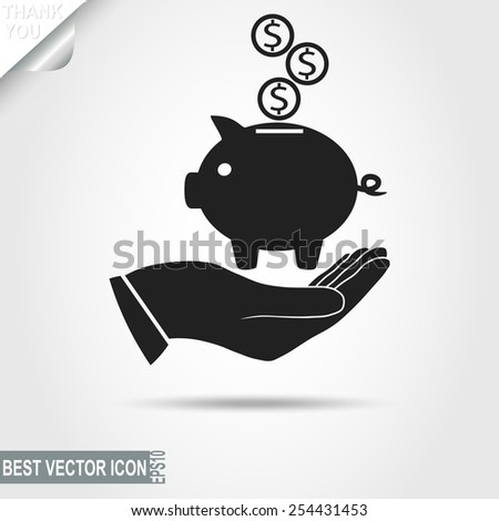 Piggy Bank with coins on the human Hand. Wealth,  saving, business icon - vector illustration - stock vector