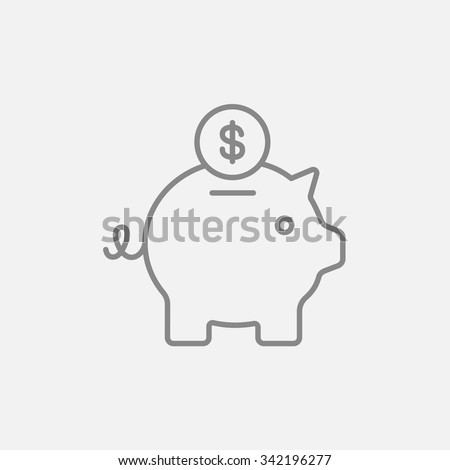 Piggy bank with dollar coin line icon for web, mobile and infographics. Vector dark grey icon isolated on light grey background. - stock vector