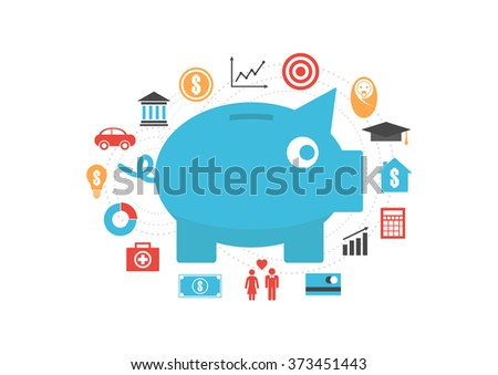 piggy bank with icon, money saving reason, isolated on white background - stock vector