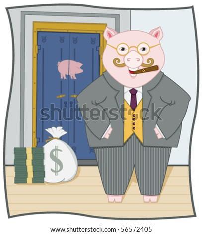 Piggy Banker - stock vector