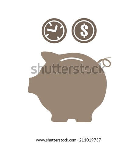 Piggy money and time saving money and time - stock vector