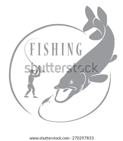 Pike Fishing - stock vector