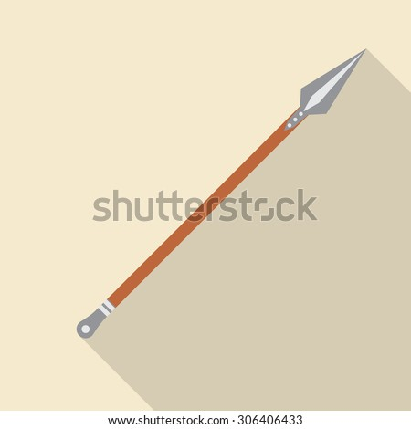 Pike,lance,spear,fork flat style icon with long shadow. Vector EPS10 - stock vector